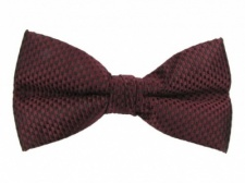 Polyester Pre-Tied Burgundy Bow Tie with Check Pattern
